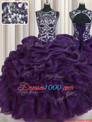 Scoop Sleeveless Beading and Pick Ups Lace Up Sweet 16 Dress