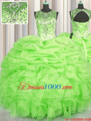 See Through Sleeveless Organza Lace Up Quinceanera Gowns for Military Ball and Sweet 16 and Quinceanera