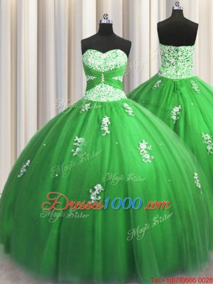 Elegant Floor Length Lace Up 15 Quinceanera Dress for Military Ball and Sweet 16 and Quinceanera with Beading and Appliques