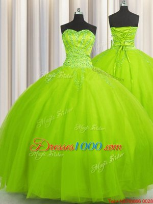 Attractive Big Puffy Tulle Lace Up Sweetheart Sleeveless Floor Length Quinceanera Dress Beading