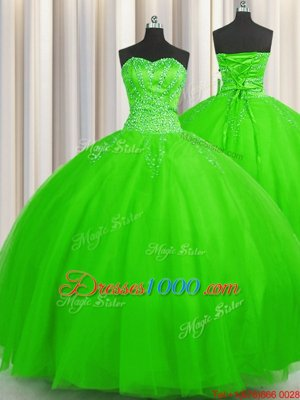 Shining Puffy Skirt Sweetheart Lace Up Beading Sweet 16 Quinceanera Dress Sleeveless