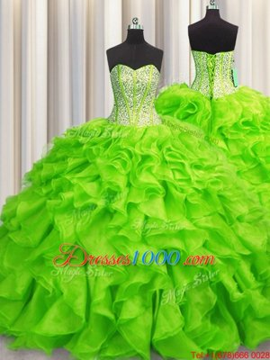 Custom Designed Visible Boning Beading and Ruffles Quinceanera Gown Lace Up Sleeveless Floor Length