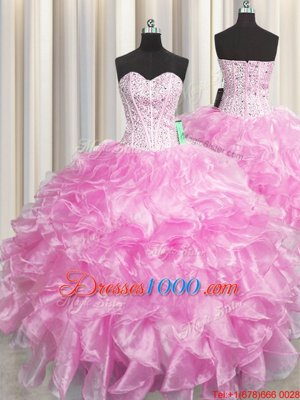 Admirable Visible Boning Zipper Up Rose Pink Sweetheart Neckline Beading and Ruffles Quince Ball Gowns Sleeveless Zipper