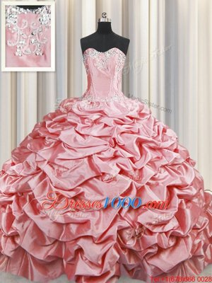 Pick Ups Baby Pink Sleeveless Taffeta Brush Train Lace Up Sweet 16 Dresses for Military Ball and Sweet 16 and Quinceanera