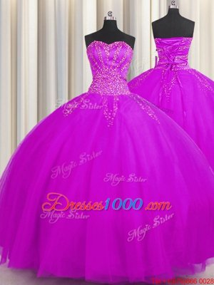 Best Really Puffy Purple Ball Gowns Sweetheart Sleeveless Tulle Floor Length Lace Up Beading 15th Birthday Dress