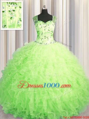 Adorable See Through Zipper Up Green Tulle Zipper Sweet 16 Quinceanera Dress Sleeveless Floor Length Beading and Ruffles