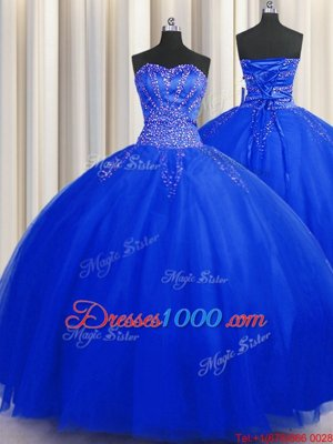 Puffy Skirt Sweetheart Sleeveless Tulle 15 Quinceanera Dress Beading Lace Up