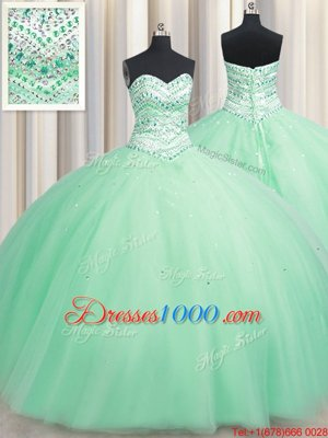 Simple Apple Green Ball Gowns Tulle Sweetheart Sleeveless Beading Floor Length Lace Up Quinceanera Gowns