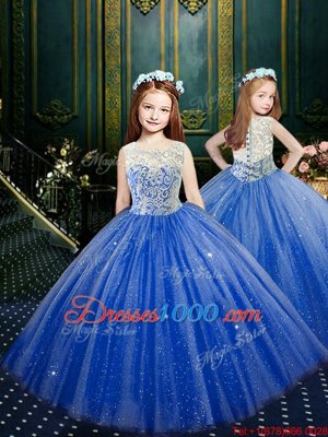 Blue Ball Gowns Scoop Sleeveless Tulle Floor Length Clasp Handle Appliques Kids Formal Wear
