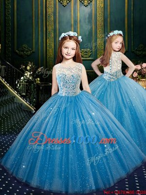 New Style Blue Scoop Neckline Appliques Pageant Gowns For Girls Sleeveless Clasp Handle