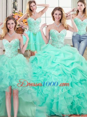 Four Piece Apple Green Organza Lace Up Quinceanera Gowns Sleeveless Floor Length Beading and Ruffles and Pick Ups