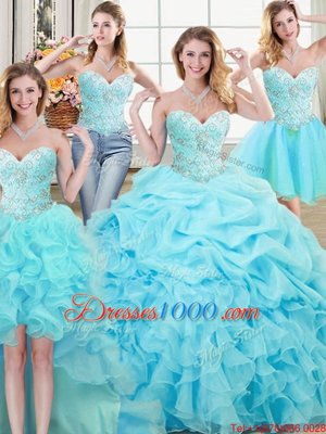 Four Piece Sweetheart Sleeveless Organza Quince Ball Gowns Beading and Ruffles and Pick Ups Lace Up
