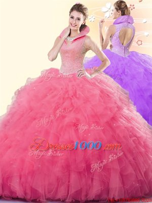 Floor Length Ball Gowns Sleeveless Coral Red Quinceanera Dresses Backless