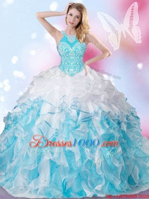 Comfortable Halter Top Floor Length Blue And White Quinceanera Dress Organza Sleeveless Beading and Ruffles and Pick Ups