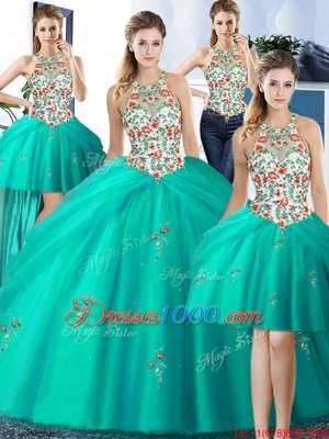 Fashion Four Piece Pick Ups Halter Top Sleeveless Lace Up Sweet 16 Dresses Turquoise Tulle