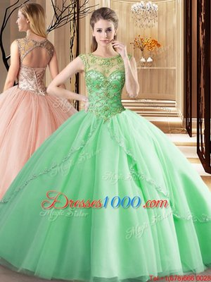 Fantastic Scoop Sleeveless Brush Train Beading Lace Up Quinceanera Dresses
