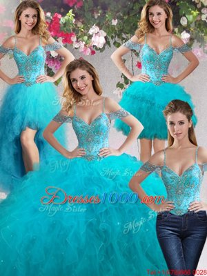 Four Piece Teal Lace Up Off The Shoulder Beading and Ruffles Quinceanera Dresses Tulle Sleeveless