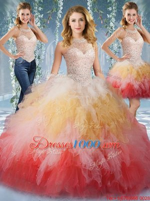 Admirable Halter Top Sleeveless Lace Up Floor Length Beading and Ruffles Quinceanera Dresses