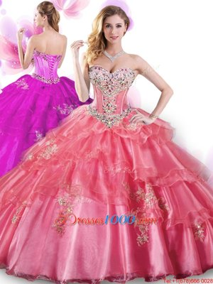 Trendy Coral Red Organza Lace Up Sweetheart Sleeveless Floor Length Quinceanera Dresses Beading and Appliques