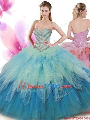 Floor Length Lace Up Sweet 16 Dress Light Yellow and In for Military Ball and Sweet 16 and Quinceanera with Beading and Ruffles and Pick Ups
