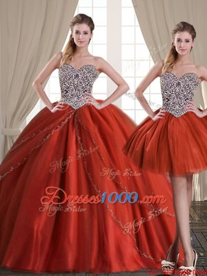 Three Piece Rust Red Ball Gowns Sweetheart Sleeveless Tulle With Brush Train Lace Up Beading Quince Ball Gowns