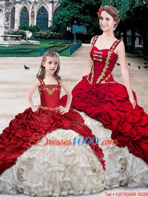 Fantastic Straps Straps White And Red Sleeveless With Train Beading and Ruffles and Pick Ups Lace Up Sweet 16 Dresses