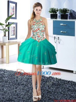 Halter Top Turquoise Ball Gowns Embroidery and Pick Ups Glitz Pageant Dress Lace Up Tulle Sleeveless Mini Length