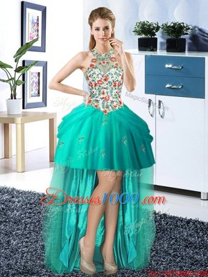 Fashion Halter Top Tulle Sleeveless High Low Pageant Dress and Embroidery and Pick Ups