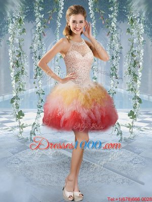 Affordable Halter Top Sleeveless Tulle Pageant Dresses Beading and Embroidery Lace Up