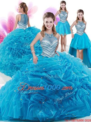 Customized Four Piece Aqua Blue Sweet 16 Dresses Military Ball and Sweet 16 and Quinceanera and For with Ruffles and Pick Ups High-neck Sleeveless Court Train Zipper