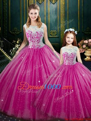 Sleeveless Tulle Floor Length Lace Up Quinceanera Gowns in Hot Pink for with Lace