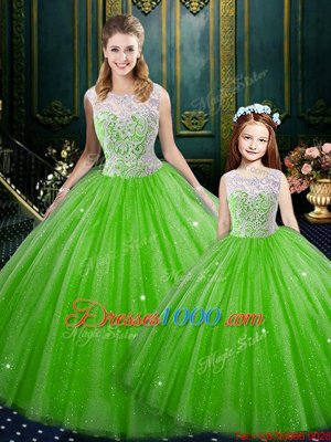 Cute High-neck Lace Up Lace 15th Birthday Dress Sleeveless