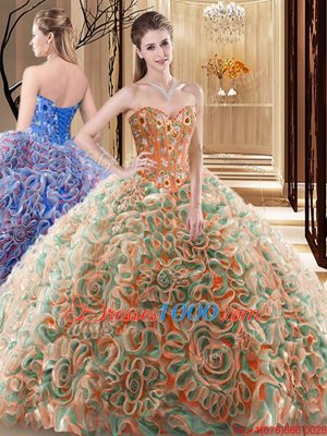 Multi-color Sleeveless Brush Train Embroidery and Ruffles With Train Vestidos de Quinceanera