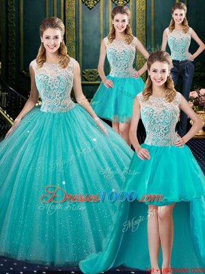 High End Four Piece Aqua Blue Ball Gowns Lace 15th Birthday Dress Zipper Tulle Sleeveless Floor Length