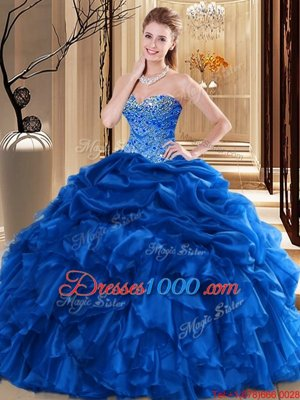Vintage V-neck Sleeveless Tulle Quinceanera Dress Appliques and Pick Ups Backless