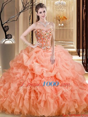 Best Sweetheart Sleeveless Brush Train Lace Up Sweet 16 Dresses Orange Organza