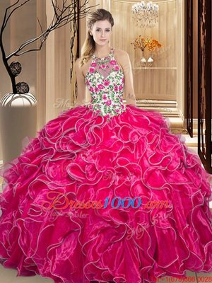 Captivating Scoop Backless Organza Sleeveless Floor Length Sweet 16 Quinceanera Dress and Embroidery and Ruffles