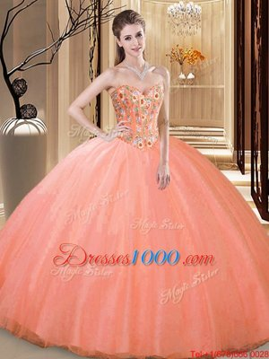 Admirable Floor Length Lace Up Quince Ball Gowns Peach and In for Prom and Military Ball and Sweet 16 and Quinceanera with Embroidery