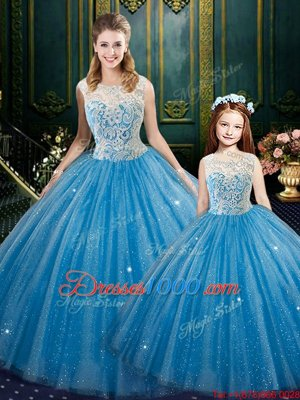 Baby Blue Sleeveless Lace Floor Length Vestidos de Quinceanera