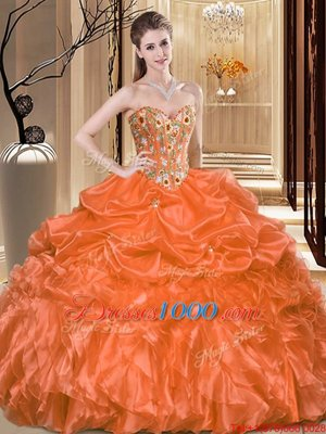 7edcd2f0a14 Graceful Embroidery and Ruffles Quinceanera Gown Orange Lace Up Sleeveless  Floor Length