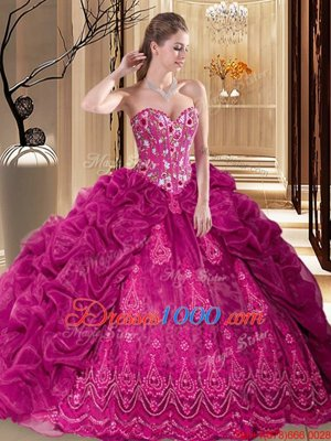 Sweet Fuchsia Lace Up Quinceanera Dress Embroidery and Pick Ups Sleeveless Court Train