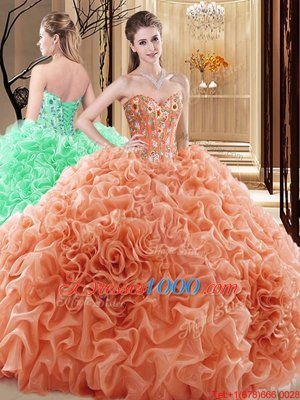 Sweetheart Sleeveless Fabric With Rolling Flowers Ball Gown Prom Dress Embroidery and Ruffles and Pick Ups Lace Up