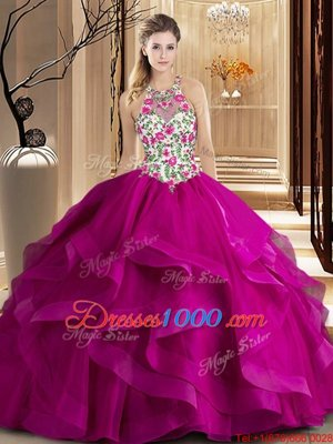 Scoop Ball Gowns Sleeveless Fuchsia Quinceanera Gowns Brush Train Zipper