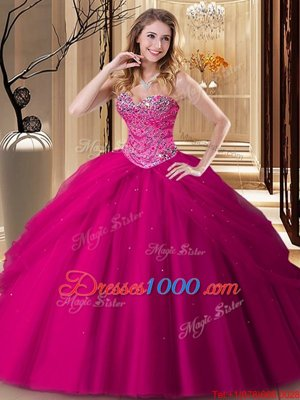 Simple Sleeveless Lace Up Floor Length Beading 15th Birthday Dress