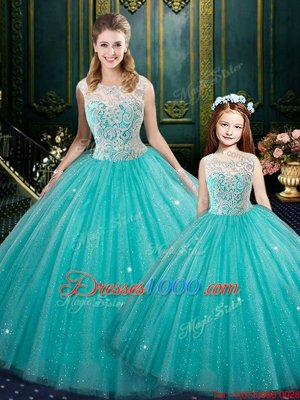 Turquoise Zipper High-neck Lace 15th Birthday Dress Tulle Sleeveless
