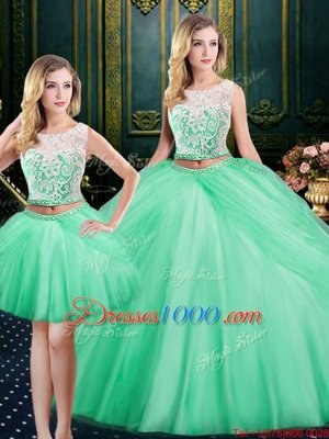 Three Piece Apple Green Quinceanera Gowns Military Ball and Sweet 16 and Quinceanera and For with Lace and Pick Ups Scoop Sleeveless Lace Up