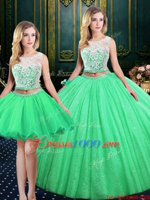 Three Piece Scoop Floor Length Quinceanera Dress Tulle and Sequined Sleeveless Lace and Sequins