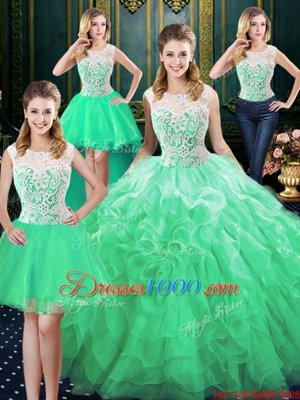 Adorable Four Piece Scoop Green Sleeveless Floor Length Lace and Ruffles Zipper Sweet 16 Quinceanera Dress