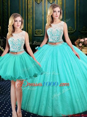 Three Piece Scoop Sleeveless Tulle and Sequined Sweet 16 Dresses Lace and Sequins Lace Up