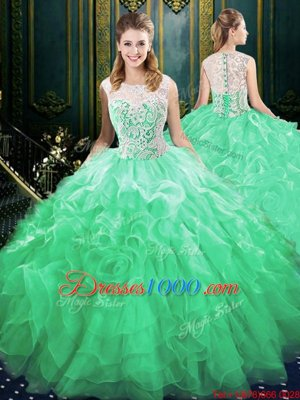 Discount Scoop Green Sweet 16 Dresses Organza and Tulle Brush Train Sleeveless Appliques and Ruffles